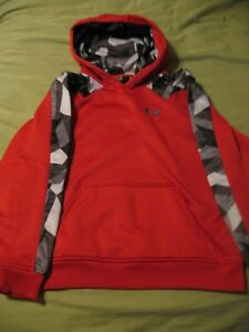 Boys Youth Under Armour Loose Hoodie Sweatshirt RedCamo Size Y Large