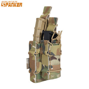 Tactical Double Magazine Pouch Hunting Outdoor Bag for Molle System Black Camo