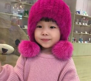 Kids Fur Hats Natural Knitted With Pom Pom Ball Winter Autumn Warm Head Wear New