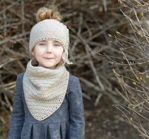 Kids Hat Coif Hood With Scarf Cap Acrylic Winter Autumn Beanies Hats Accessories