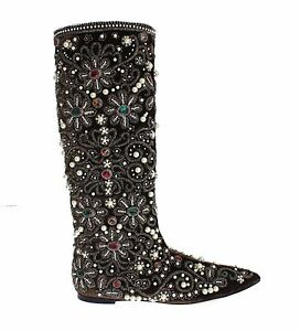 NEW $7800 DOLCE & GABBANA Boots Brown Velvet Silver Baroque Crystal EU37.5  US7