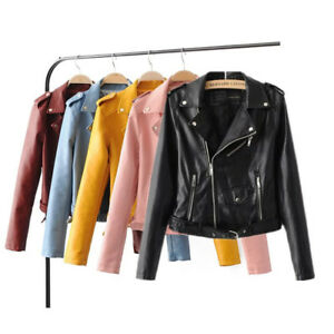US Women's Leather Jackets Lady Bomber Motorcycle Cool Outerwear Coat with Belt