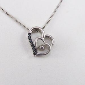 Sterling Silver Blue Diamond In Rhythm Motion Heart Pendant Necklace 18