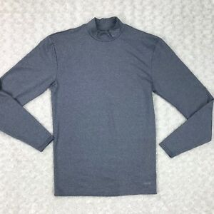 Champion Duo Dry Athletic Shirt Mens Sz M Gray Long Sleeve Mock Fitted Pullover