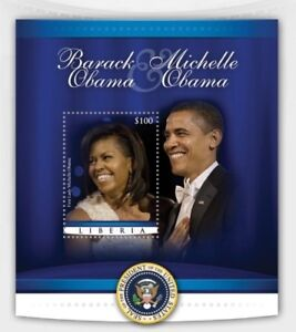 Liberia 2010 President Barack Obama with Michelle Stamp Souvenir Sheet MNH