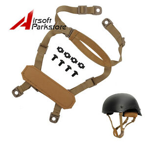 Tactical MICH ACH Helmet Retention System H-Nape Chin Strap Hunting Military Tan