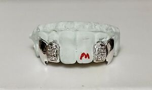 6 PC S. Silver 10K or 14K Gold w CZ. Custom Made Grill Grillz