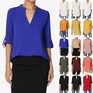 TheMogan Roll Tab 34 Sleeve Split Neck Blouse Office Shirtail Henley Shirt Top