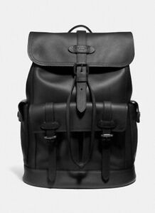 New Coach F36811 Mens Hudson Pebbled Leather Backpack Black $695