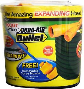 Pocket Hose Bullet 50-Ft Expandable Garden Hose BulbHead No Hose Reel Needed