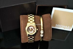 ❤️ NEW Michael Kors MK3624 Mini Runway Gold Tone Watch and Bracelet GIFT SET ❤️