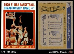 1971 Topps #133 Lew Alcindor - NBA Playoffs Game Bullets (Wizards)  Bucks EXMT