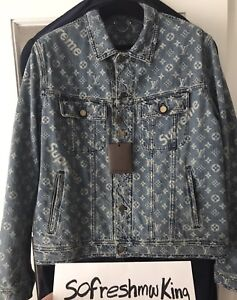 Louis Vuitton X Supreme Monogram Denim Trucker Jacket Sz 58 XXL W Receipt! Logo