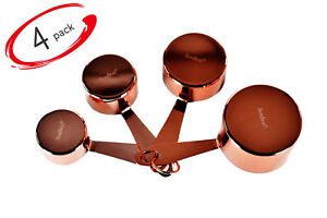 BonBon Measuring Cups 4 Pack Stainless Steel Copper Rose Gold 4 Piece SS Set
