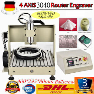 4 Axis 3040 Router Engraver Milling Drilling Cutter Machine 800W VFD Spindle DHL