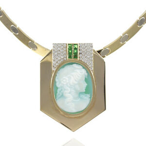 Unique 14kt Yellow Gold Choker with Chrysoprase Cameo Tsavorites