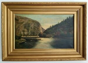Antique Oil Painting Landscape Oil on Canvas signed EGB 1907 $455.00