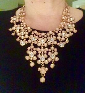 Pink Crystal statement bib necklace Dannijo Erickson Beamon Kate Spade style