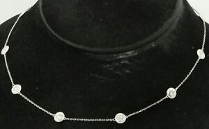 14K WG elegant 3.0CT diamond by the yard 10-stone chain necklace