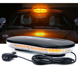 Xprite Rooftop Amber LED Strobe Light Bar w Magnetic Car Emergency Warning Lamp