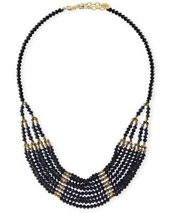 Black Crystal Multi-Strand Statement Necklace Jewelry