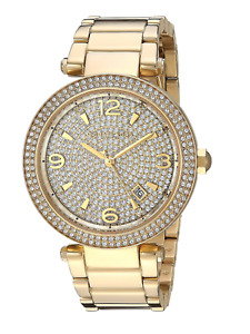 MICHAEL KORS Gold Tone Stainless Pave Crystal Dial Bracelet Watch  MK6510  NEW