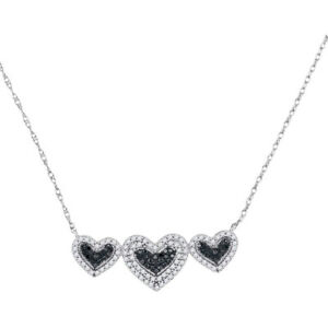 10k White Gold Round Black Diamond Triple Framed Heart Pendant Necklace 38