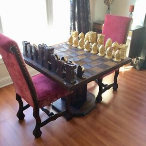 Antique King Richard II Chess Set Mid Century Table Furniture Red Velvet Chairs