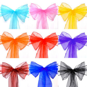 10 20 50 100 150pcs Organza Chair Sash Cover Bow for Wedding Party Banquet Venue