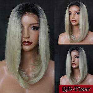 Ombre Blonde Color Short Bob Lace Front Synthetic Hair Wig Heat Resistant Beauty