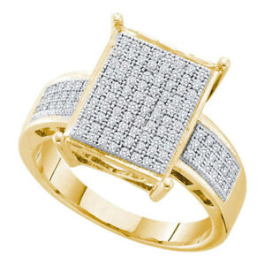 10k Yellow Gold Womens Round Pave-set Diamond Rectangle Cluster Ring 1/3 Cttw