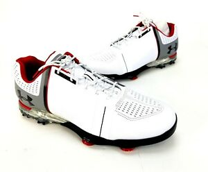 Mens Under Armour UA Spieth One Golf Shoes Size 12 E White Black Red 1302342-108