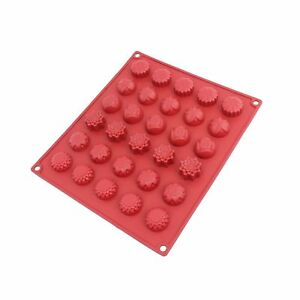 Freshware CB-120RD 30-Cavity Silicone Flower Mold for Making Homemade Chocola...