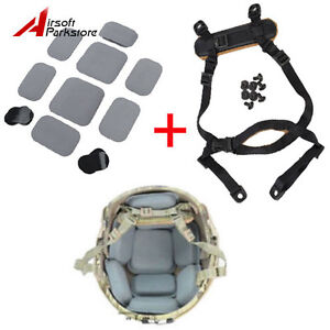 Tactical MICH ACH Helmet Retention System Black + Protective Spacer Pads Grey