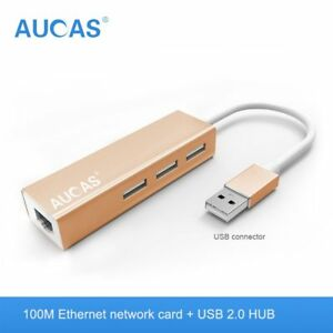 Aucas Ethernet Adapter Network Card USB 2.0 to RJ45 Lan fr Windows Micro Switch