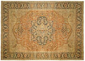 Vintage Persian Heriz Oriental Carpet size 12'6 x 9'7 with FREE SHIPPING