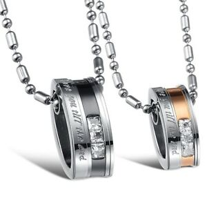 Jewelry Matching Set Titanium Stainless Steel Couple Pendant Necklac Korean Love