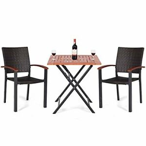 Tangkula Bistro Set Patio Dining Set Outdoor Patio Garden Balcony All-Weather