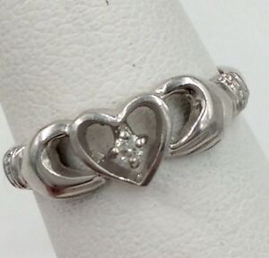 10K White Gold .03ct Diamond Heart Hands Ring Size 5.25