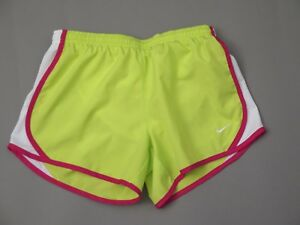NIKE GIRLS's Dry-FIT FLUORESCENT GREEN PINK WHITE TEMPO RUNNING SHORTS LARGE