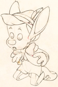 3) 1940 RARE WALT DISNEY PINOCCHIO ORIGINAL PRODUCTION ANIMATION DRAWINGS $739.00