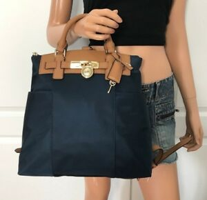 NWT MICHAEL KORS NYLON LEATHER BOOK BAG BACKPACK HANDBAG PURSE NAVY BLUE