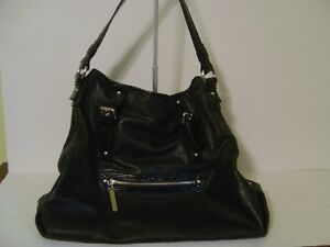 VIA SPIGA LARGE BLACK PATENT LEATHER SATCHEL TOTE PURSE HANDBAG WITH ZIPPER