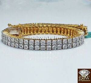 Real 925 Sterling Silver Gold-Tone Bracelet with Real 13 CT Diamonds for men.