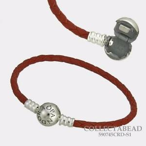 Authentic Pandora Silver Single Red Leather Bracelet 590745CRD *Multiple Sizes