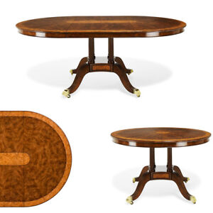Round to Oval Walnut Dining Table with Leaf