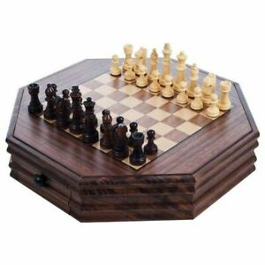 Octagon Wooden Chess and Checkers Set 13 Inch Storage Drawers Nice Office Set $36.99