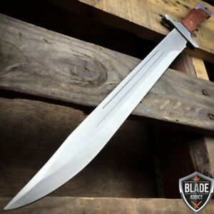 18 FULL TANG MACHETE HUNTING KNIFE SWORD WOOD HANDLE W SHEATH COMBAT OUTDOOR