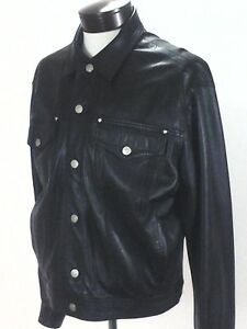 VERSACE JEANS COUTURE Genuine Leather Trucker Jacket  Black Mens L Large $1595