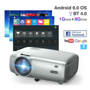 Wifi LED Smart Home Theater Projector Android 6.0 BT 1080P 3D Video Movie USB TV
